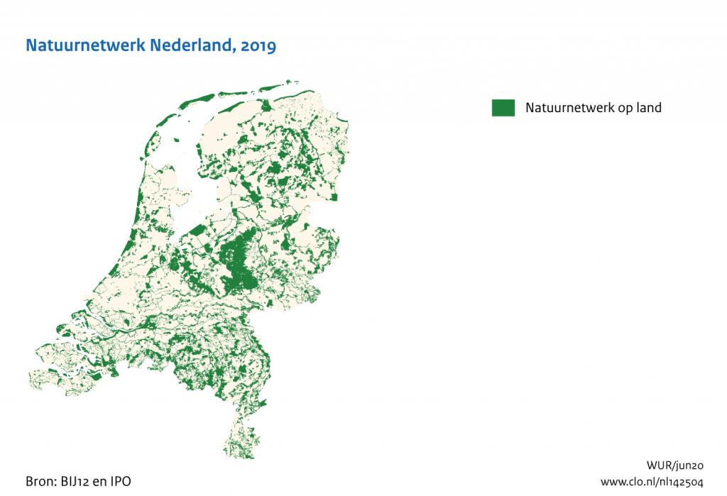 kaart nationaal natuurnetwerk Nederland